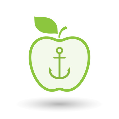 nautic: Illustration of an isolated  line art apple icon with an anchor Illustration