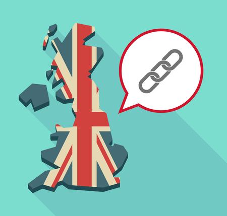 la union hace la fuerza: Ilustración de una larga sombra Reino Unido mapa con un globo de cómic y una cadena Vectores