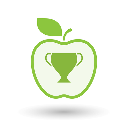 Illustration of an isolated  line art apple icon with a cup