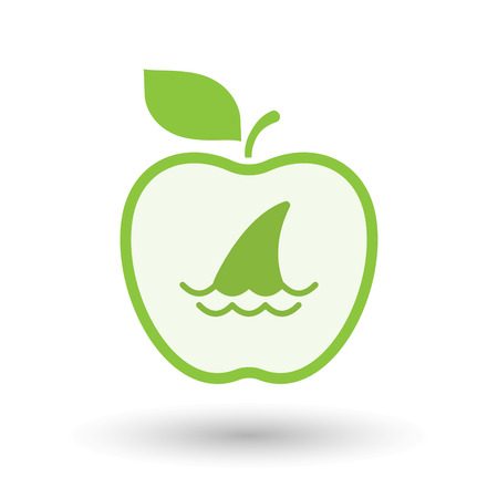 fin: Illustration of an isolated  line art apple icon with a shark fin