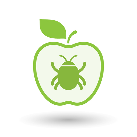 Illustration of an isolated  line art apple icon with a bug Illustration