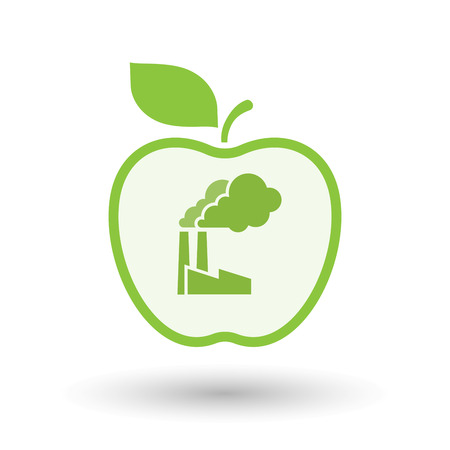 food plant: Illustration of an isolated  line art apple icon with a factory