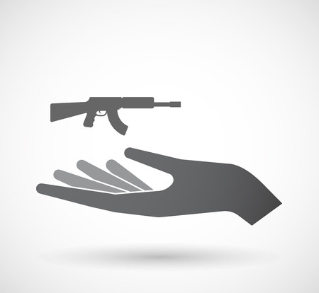 Illustration of an isolated offerign hand icon with  a machine gun sign