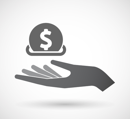 Illustration of an isolated offerign hand icon with  a dollar coin entering in a moneybox Illustration