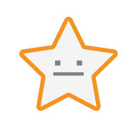 serious: Illustration of an isolated  line art star icon with a emotionless text face
