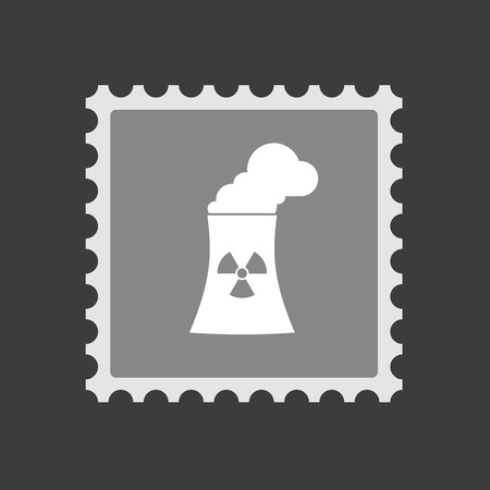 nuclear power station: Illustration of an isolated  mail stamp icon with a nuclear power station
