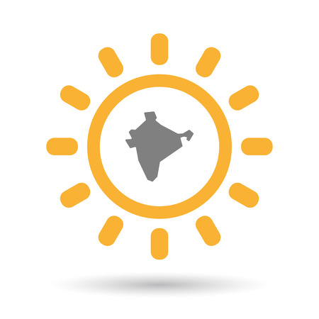 Illustration of an isolated  line art sun icon with  a map of India Illustration