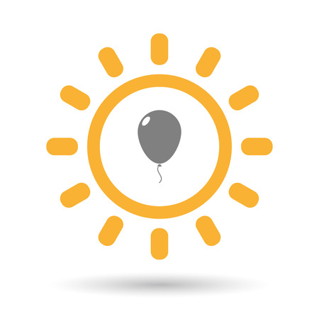 Illustration of an isolated  line art sun icon with a balloon