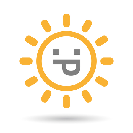 sticking out tongue: Illustration of an isolated  line art sun icon with a sticking out tongue text face
