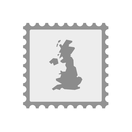 philately: Illustration of an isolated  mail stamp icon with  a map of the UK