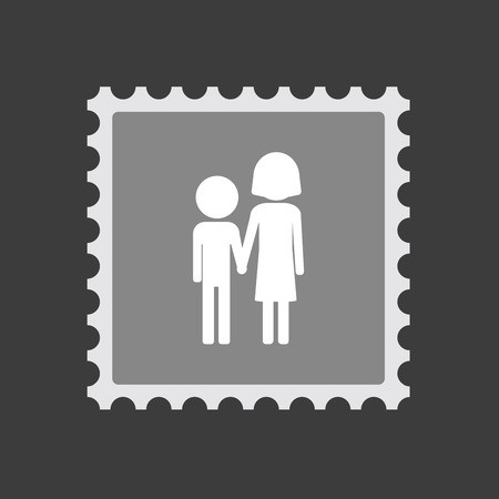 orphan: Illustration of an isolated  mail stamp icon with a childhood pictogram