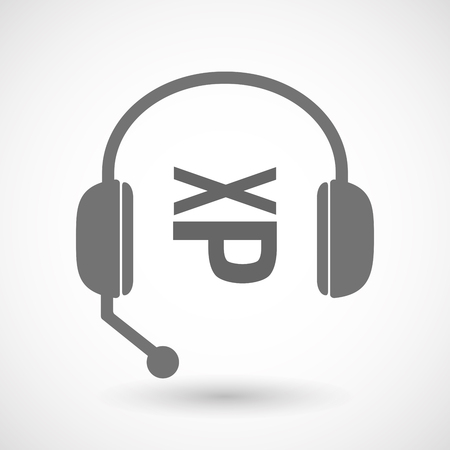 face with headset: Illustration of an isolated hands free headset icon with  a Tongue sticking text face emoticon Illustration