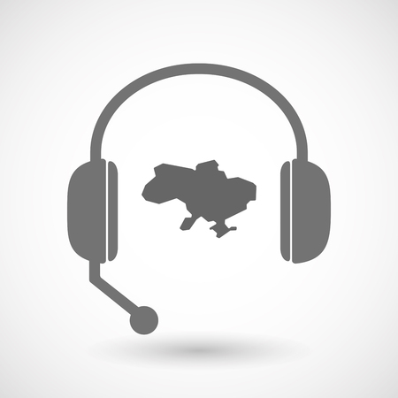 hands free: Illustration of an isolated hands free headset icon with  the map of Ukraine