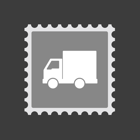mail truck: Illustration of an isolated  mail stamp icon with a  delivery truck Illustration