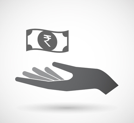 bank note: Illustration of an isolated offerign hand icon with  a rupee bank note icon Illustration