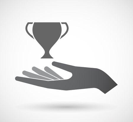 Illustration of an isolated offerign hand icon with  an award cup