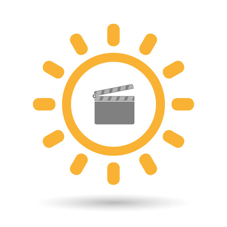 Illustration of an isolated  line art sun icon with a clapperboard Illustration