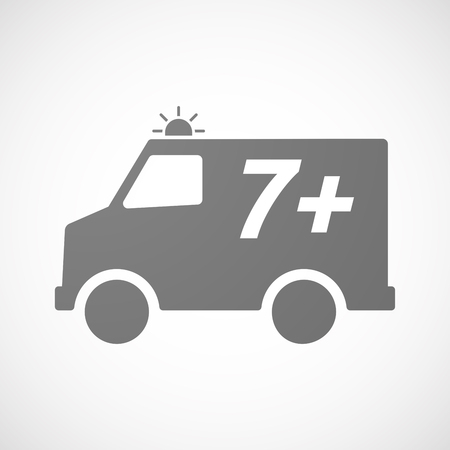 approval rate: Illustration of an isolated ambulance icon with    the text 7+
