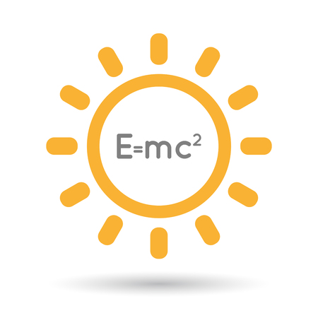 Illustration of an isolated  line art sun icon with the Theory of Relativity formula