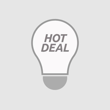 hot deal: Illustration of an isolated line art light bulb icon with    the text HOT DEAL