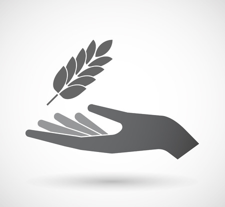 Illustration of an isolated offerign hand icon with  a wheat plant icon Illustration