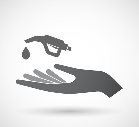 palm oil: Illustration of an isolated offerign hand icon with  a gas hose icon Illustration
