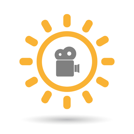 Illustration of an isolated  line art sun icon with a film camera