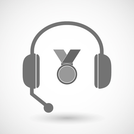 hands free: Illustration of an isolated hands free headset icon with  a medal