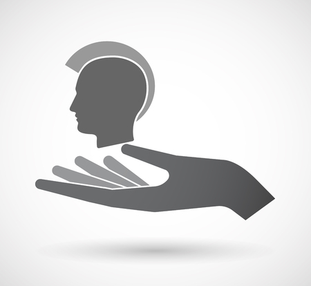 Illustration of an isolated offerign hand icon with  a male punk head silhouette