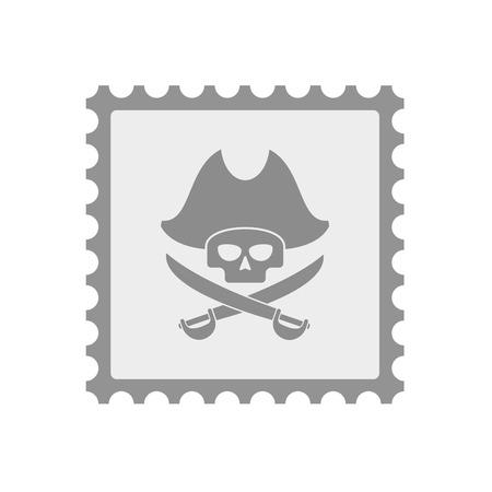 Ilustración de un icono de sello de correo aislado con una calavera pirata Vectores
