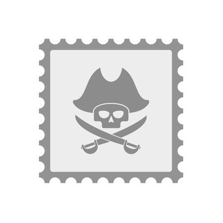 Illustration of an isolated  mail stamp icon with a pirate skull