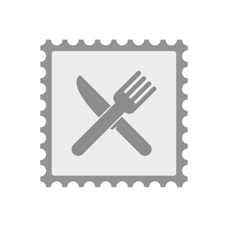 Illustration of an isolated  mail stamp icon with a knife and a fork Illustration
