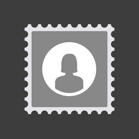 Illustration of an isolated  mail stamp icon with a female avatar