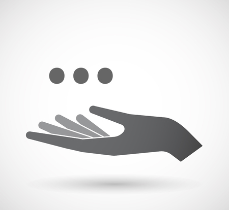 orthographic: Illustration of an isolated offerign hand icon with  an ellipsis orthographic sign