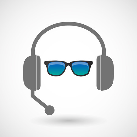 hands free: Illustration of an isolated hands free headset icon with  a sunglasses icon