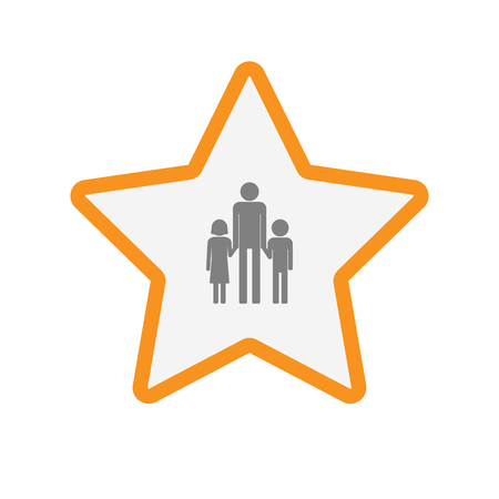 single parent family: Illustration of an isolated  line art star icon with a male single parent family pictogram Illustration