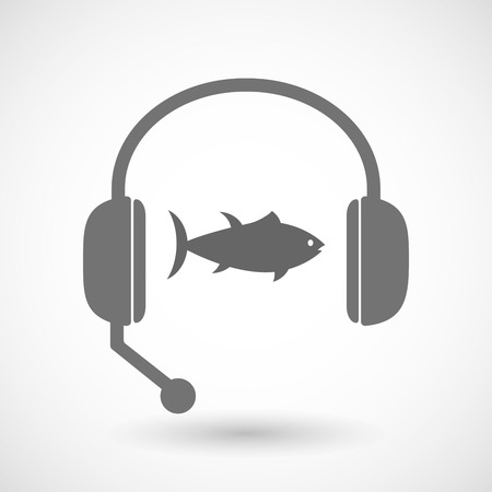 tuna fish: Illustration of an isolated hands free headset icon with  a tuna fish
