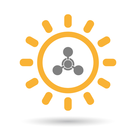 riesgo quimico: Illustration of an isolated  line art sun icon with a chemical weapon sign
