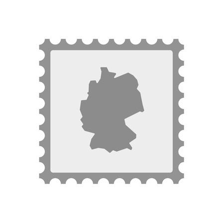 Illustration of an isolated  mail stamp icon with  a map of Germany