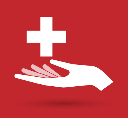 swiss flag: Illustration of an isolated offerign hand icon with   the Swiss flag