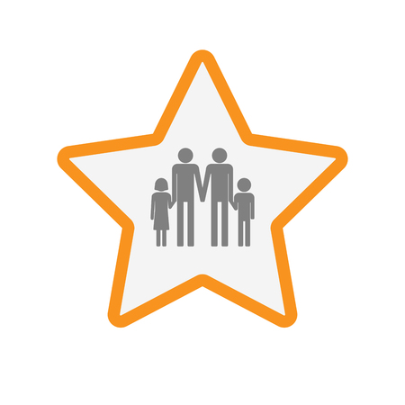 Illustration of an isolated  line art star icon with a gay parents  family pictogram Illustration