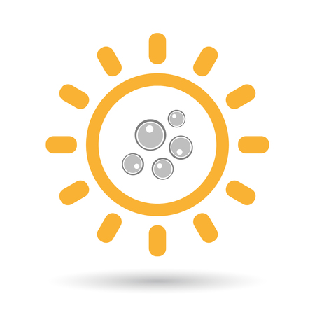 fertilization: Illustration of an isolated  line art sun icon with oocytes