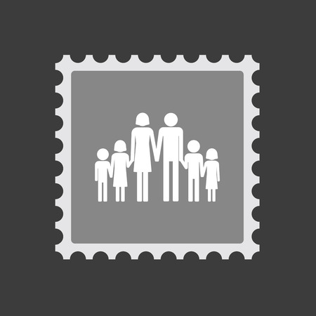 large family: Illustration of an isolated  mail stamp icon with a large family  pictogram