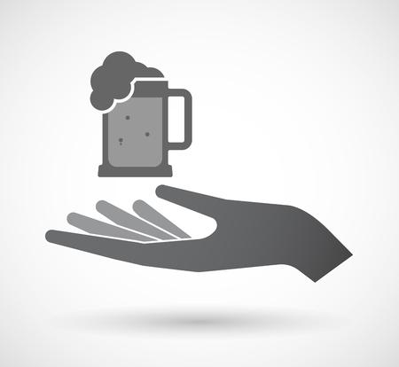 tarro cerveza: Ilustración de un icono de la mano offerign aislado con un icono de jarra de cerveza