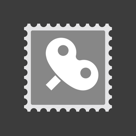 Illustration of an isolated  mail stamp icon with a toy crank