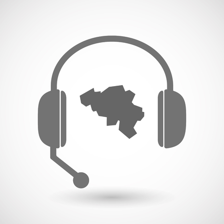 hands free: Illustration of an isolated hands free headset icon with  the map of Belgium Illustration