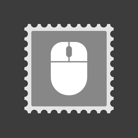 Illustration of an isolated  mail stamp icon with a wireless mouse