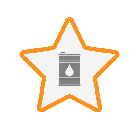 energy ranking: Illustration of an isolated  line art star icon with a barrel of oil Illustration
