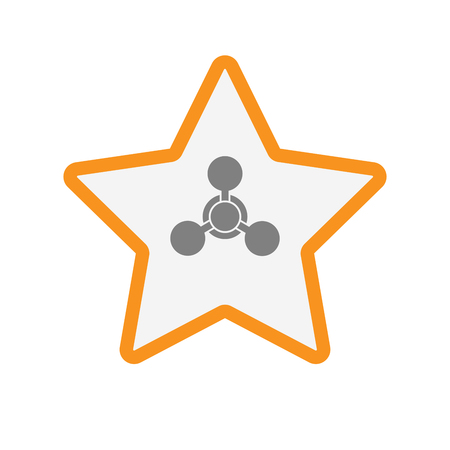 Illustration of an isolated  line art star icon with a chemical weapon sign
