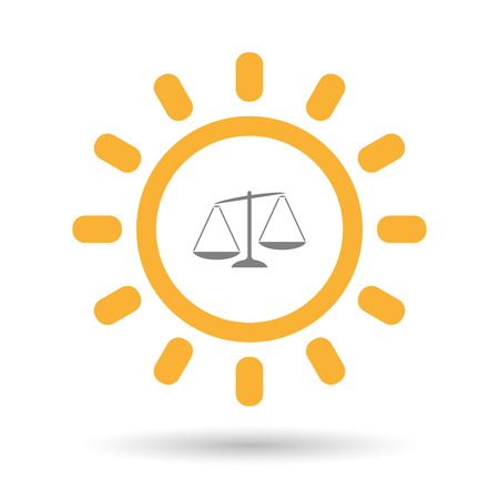 Illustration of an isolated  line art sun icon with  an unbalanced weight scale Illustration